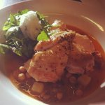 Roast chicken breast with a chick pea and chorizo broth