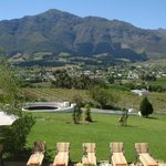 Franschhoek town from one of the many fine restuarants.
