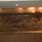 Beautiful wood carving in the lobby