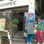                    My wife and daughters at Hotel Empee entrance