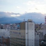 Sakurajima from our bathroom.