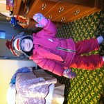 Getting ready to go sledding just outside our room