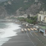 Arriving, with the view of Maiori beach and promenade