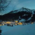 Village from piste at night