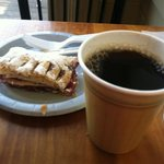  cherry strudel and Downeast coffee