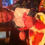 Pat enjoying a lobster at the bar.
