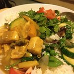 Wholesome food scrumptious Malaysian Curry Stir fried Green veg. and Plain whi