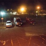 Looking from window across Travelodge car park to the Service Station