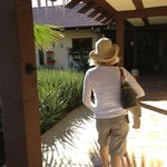 Walking just outside of pool side rooms