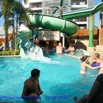 Big splash from water slide!