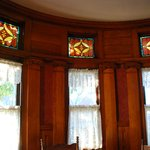                    Stain glass enhances the wood interior