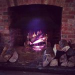 Log fire in the restaurant..
