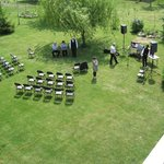 A small outdoor wedding set-up