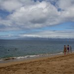                    Kahekili Beach looking toward Molokai from right in front of the main parking 