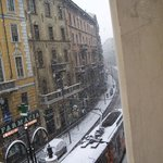 View of Via Torino with the snow from the B&B