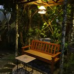 garden nook at night