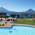 view from out room of pool Volcanos and Lake Atitlán