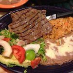 Carne asada with the usual accessories.  Tasty.