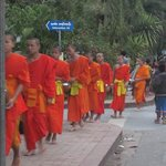 Monks recieving their alms just up the road