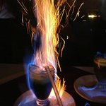 Flaming coffee at The Happy Lobster