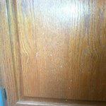 more food splatter on the kitchenette cabinets