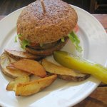 Lentil Burger and Wedges