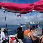 Island Magic Catamaran's pink sails