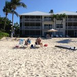 Looking from the water back to the beach and Cayman Club