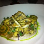 Pikeperch fillet with chive flavoured potatoe dumplings and forest mushrooms
