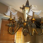 chandelier by spa in our room