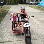 Our girls having fun on the hire bikes.