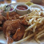 Panko Crusted Fried Shrimp With Fries and Coleslaw.