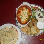  SAGANAKI KEFTEDES:greek meatballs,tomato sauce,sizzling cheese,with pita !
