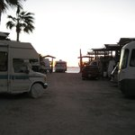 View to the beach, just past the rv's, from the hotel