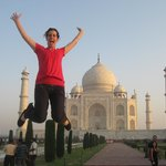 Jumping for joy at the Taj Mahal!