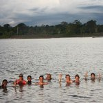 Swimming in the Amazon near Cumaceba