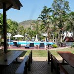                                      view from dining terrace towards pool and garden