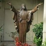                    Christ Statue in Garden