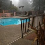 Pool and hot tub in the fog