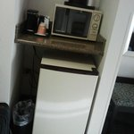 mini fridge, microwave & coffee in room