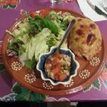 Mushroom empanada, fresh salsa and mixed salad at La Fonda café & comida.