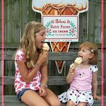 Grand-daughter Annelise Geiss on right enjoys a cone with friend