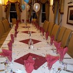 Table decorated before party