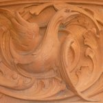 Samples of carving around the entrance to the Pierhead Building