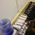 free weights towels in workout room