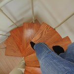 spiral stairs from sleep loft