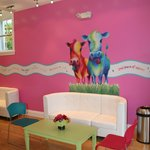 Colorful, comfortable froyo lounge seating!