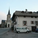                    Outside the chalet with the church in the background