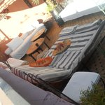 Sun lounger on roof terrace.