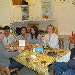 Hanging out in the kitchen; friends from Brazil, Poland, France and USA -